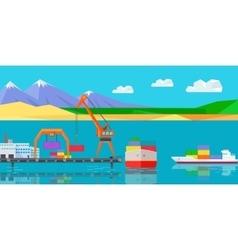 Logistics and transportation cargo ship vector