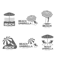 Logo templates with beach umbrella and sun bathing vector
