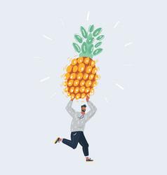 man hold big pineapple vector image