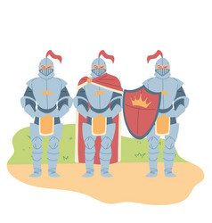 Medieval knights men with shield design vector