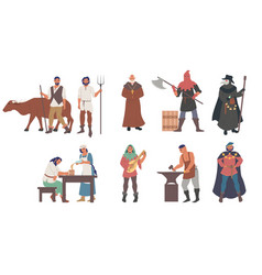 medieval people male and female cartoon character vector image