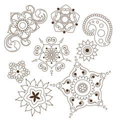 Mehndi flower indian pattern isolared on white vector