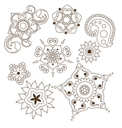 mehndi flower indian pattern isolated on white vector image