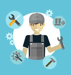 modern flat concept mechanic with tools vector image