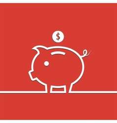 Money piggy bank in line on red background vector