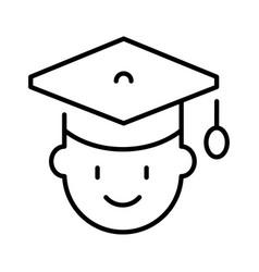 Monochrome human head in graduate hat icon vector