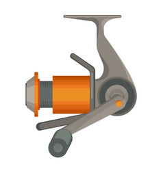 orange spinning reel for fishing in flat design vector image