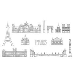 Paris skyline line art 8 vector