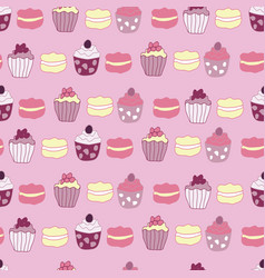 pink garden tea party cake seamless pattern vector image