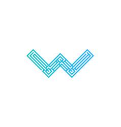 pixel letter w logo icon design vector image