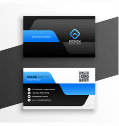 Professional blue business card modern template vector