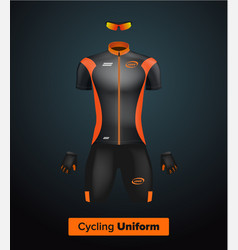 Realistic cycling uniform template black vector