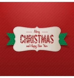 Realistic Merry Christmas Label with green Ribbon vector
