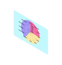 round calendar with twelve months diagonal vector image