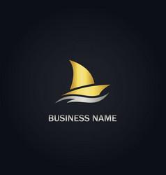 Sailing boat gold logo vector