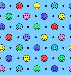 seamless pattern with colorful smiling faces vector image
