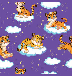Seamless pattern with cute dreaming tigers purple vector
