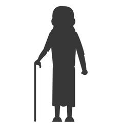 Senior woman with cane icon vector