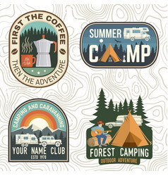 set camping and caravanning club badges vector image