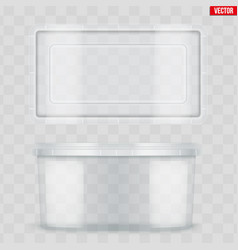Set clear plastic container for food vector