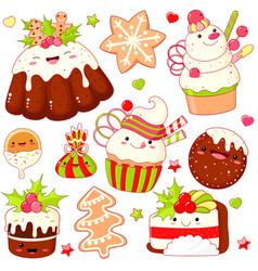 Set cute christmas sweet icons in kawaii style vector