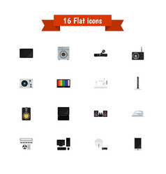set of 16 editable tech icons flat style includes vector image
