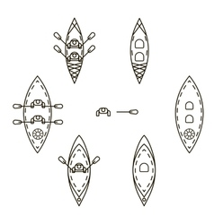 Set of icons with kayaks vector image