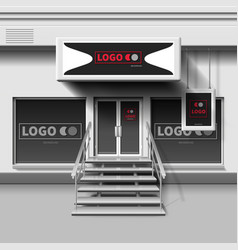 Shop exterior template 3d storefront with vector