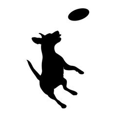 Silhouette of a dog jumping vector