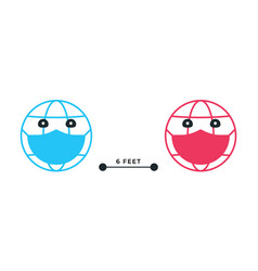 social distancing emoji earth keep 6 feets vector image