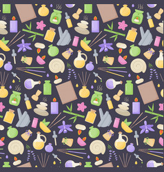 spa and aromatherapy flat seamless pattern vector image