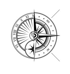 sundial and windrose half symbols vector image