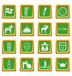 Sweden travel icons set green vector
