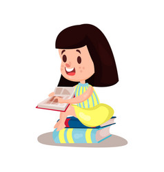 sweet brunette girl reading a book sitting on a vector image