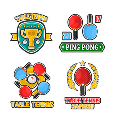 Table tennis colorful logo labels poster on vector