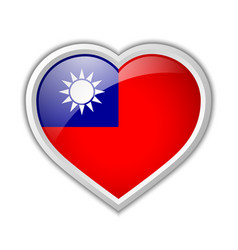 taiwanese flag heart shaped badge isolated on vector image