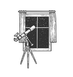 Telescope and open window sketch vector
