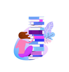 The concept of online library tiny characters and vector