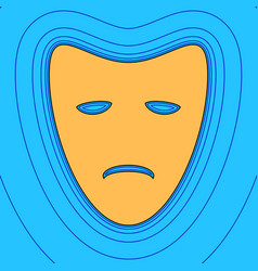 Tragedy theatrical masks sand color icon vector