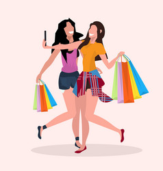 two women taking selfie photo on smartphone camera vector image
