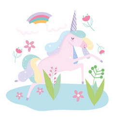 Unicorn rainbow flowers foliage fantasy magic cute vector