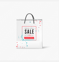 white paper bag with sale offer empty bag with vector image