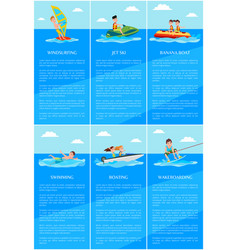 Windsurfing and jet ski posters vector