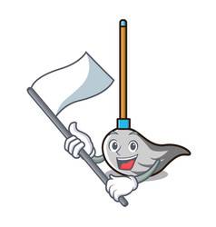 with flag mop mascot cartoon style vector image