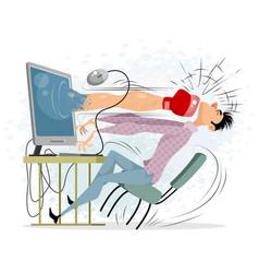 Young man sitting at computer vector