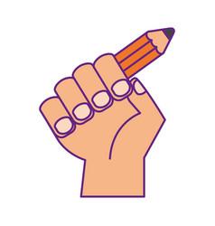 hand human with pencil school vector image vector image