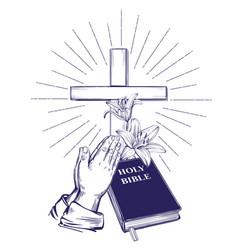 praying hands bible gospel crown of thorns vector image
