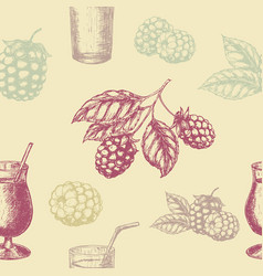 raspberry blackberry and milkshakes seamless vector image vector image
