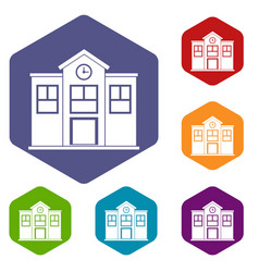 School icons set hexagon vector