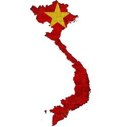 Vietnam map with flag inside vector image vector image